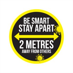 be smart stay apart circular floor sticker