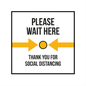 Please wait here and thank you white square floor sticker