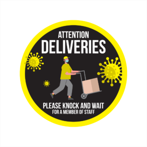 attention deliveries window sticker