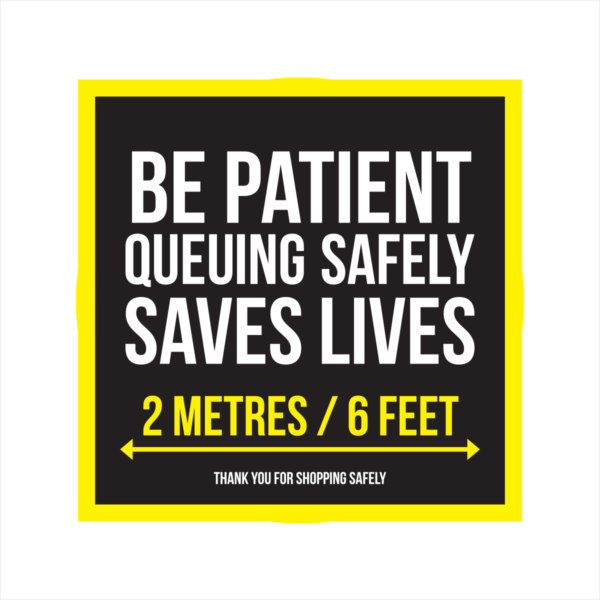 be patient queuing safely square floor sticker