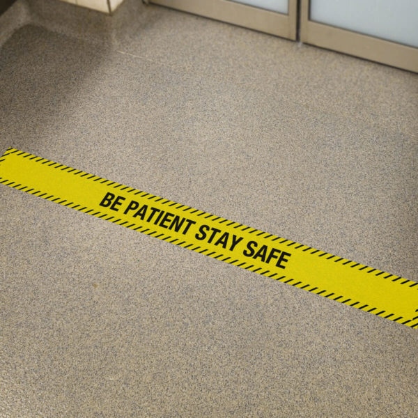 be patient yellow floor sticker