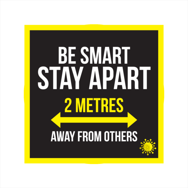 be smart stay apart square floor sticker
