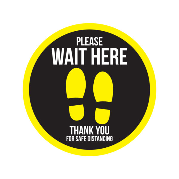 please wait here social distancing floor sticker