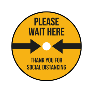 Please wait here and thank you floor sticker