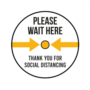 Please wait here and thank you white floor sticker