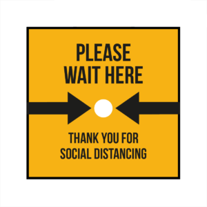 Please wait here and thank you square floor sticker