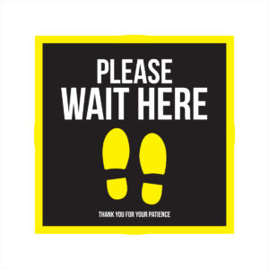 please wait here square floor sticker