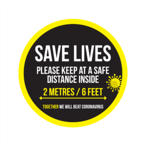 save lives social distancing window sticker