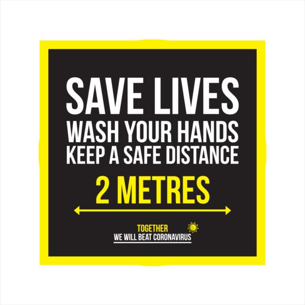 save lives wash your hands coronavirus floor sticker