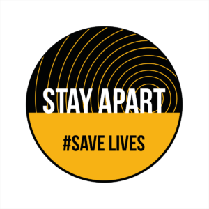 Stay apart save lives circular floor sticker