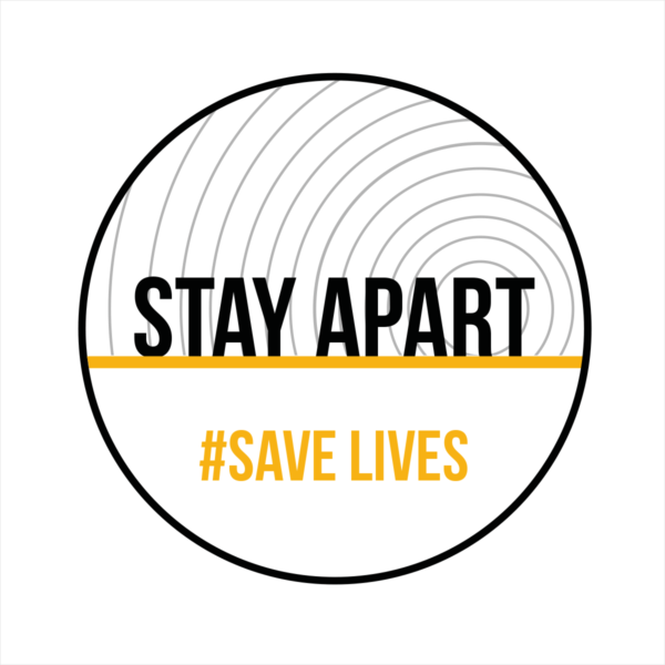 Stay apart save lives circular white floor sticker