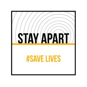 Stay apart save lives white square floor sticker