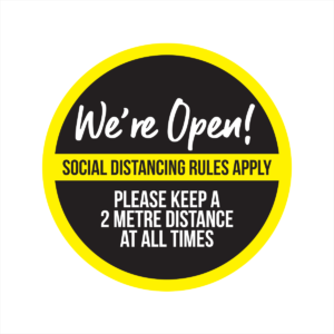 business is open social distancing window sticker